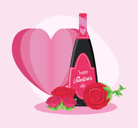 Heart champagne bottle and roses design of Happy valentines day love passion romantic wedding decoration and marriage theme Vector illustration