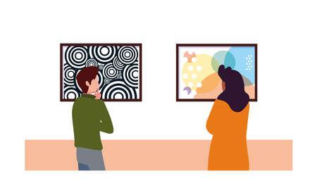 couple de personnes dans une galerie d'art contemporain, visiteurs de l'exposition regardant des peintures abstraites modernes conception d'illustration vectorielle