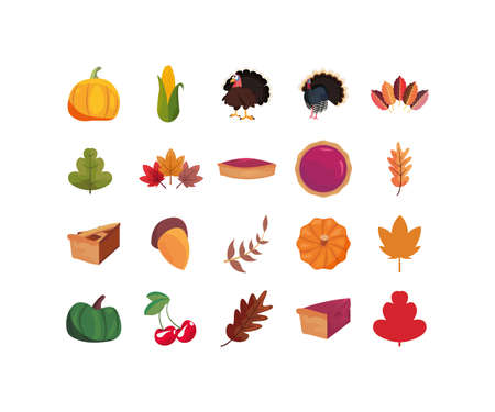 Icon set of happy thanksgiving day design, Autumn season holiday greeting and traditional theme Vector illustration 일러스트
