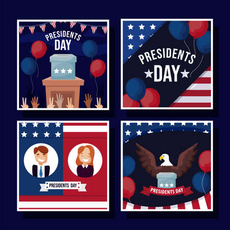 Frames set design, Usa happy presidents day elections united states america independence nation us country and national theme Vector illustration