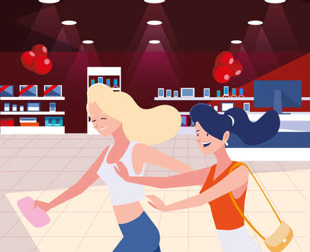 Black fridays shop design, sale offer discount holiday promotion cheap and commerce theme Vector illustration