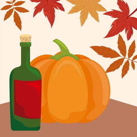 pumpkin in harvest with wine bottle vector illustration design