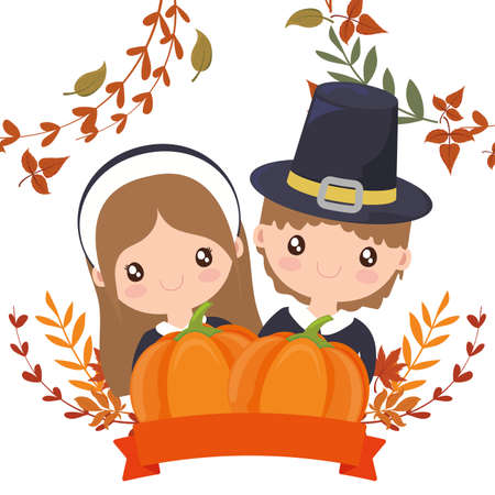 Woman and man cartoon of thanksgiving day design, Autumn season holiday greeting and traditional theme Vector illustration 일러스트