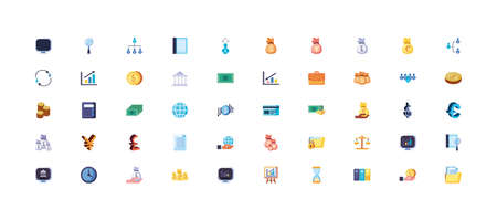 Business icon set design, Management workforce financial item corporate investment success technology and job theme Vector illustration