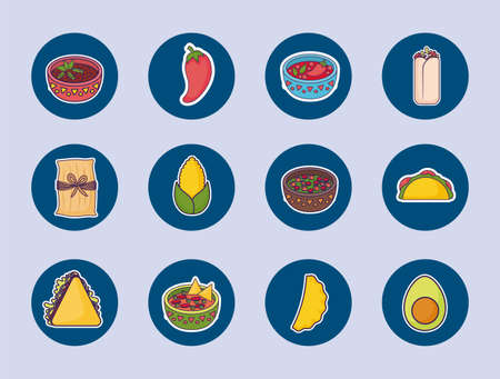 bundle mexican food with set icons vector illustration design