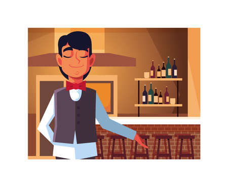 man professional waiter offering red wine in the bar vector illustration design