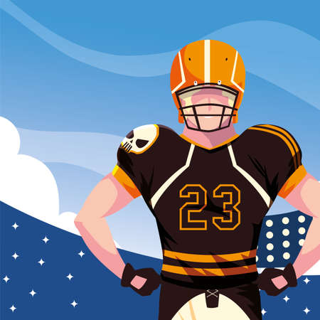 Player with helmet in front of grandstand design, Super bowl american football sport hobby competition game training equipment tournement and play theme Vector illustration 向量圖像