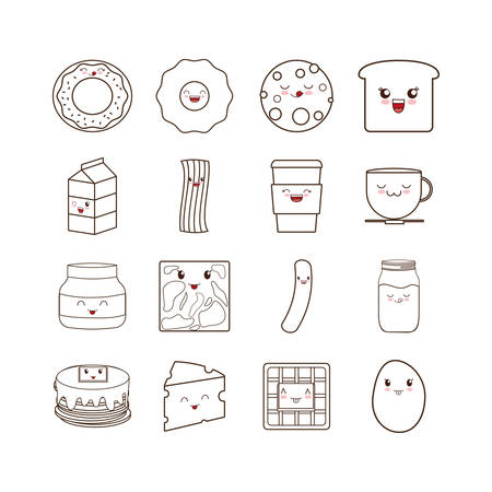 Kawaii cartoons set design, Breakfast food meal fresh product natural store and cooking theme Vector illustration