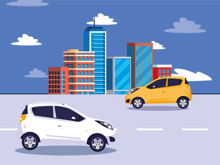 Cars on the street in front of buildings design, Vehicle automobile auto transportation transport wheel automotive and speed theme Vector illustration Ilustracja