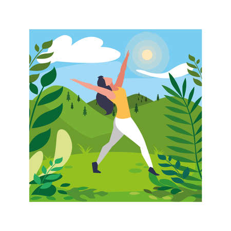 woman outdoors practicing yoga with background landscape vector illustration design