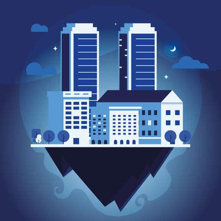 apartment and office buildings, urban landscape over terrain vector illustration design Ilustrace