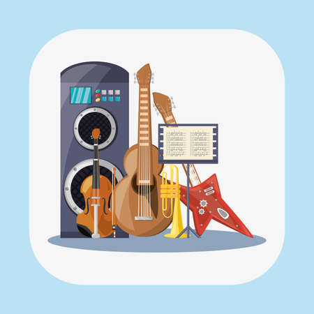 Guitars fiddle trumpet and speaker design, Music sound melody song musical art and composition theme Vector illustration Ilustrace
