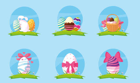 set of easter eggs, happy easter vector illustration design