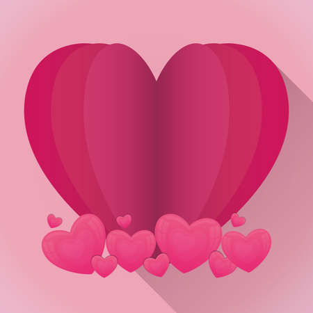 Pink hearts design of love passion romantic valentines day wedding decoration and marriage theme Vector illustration