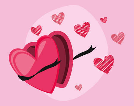 Pink heart box design of love passion romantic valentines day wedding decoration and marriage theme Vector illustration Ilustracja