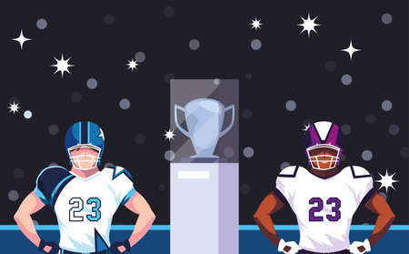 Players with helmet in front of grandstand design, Super bowl american football sport hobby competition game training equipment tournement and play theme Vector illustration