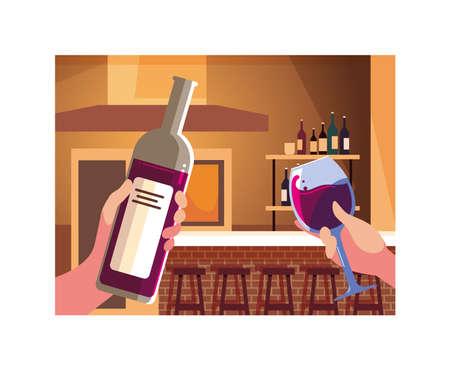 hands holding a bottle and glass of wine vector illustration design Ilustração