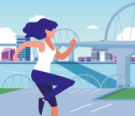 Woman running outside design, Healthy lifestyle Fitness bodybuilding bodycare activity and exercisetheme Vector illustration