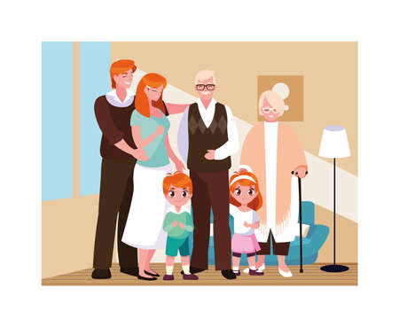 big family together in living room, three generations vector illustration design Vectores