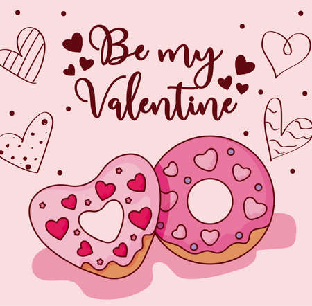 Donuts and hearts design of happy valentines day love passion romantic wedding decoration and marriage theme Vector illustration