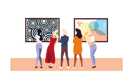 group of people in contemporary art gallery, exhibition visitors viewing modern abstract paintings vector illustration design Ilustrace