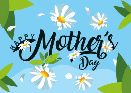 happy mothers day card with flowers decoration vector illustration design