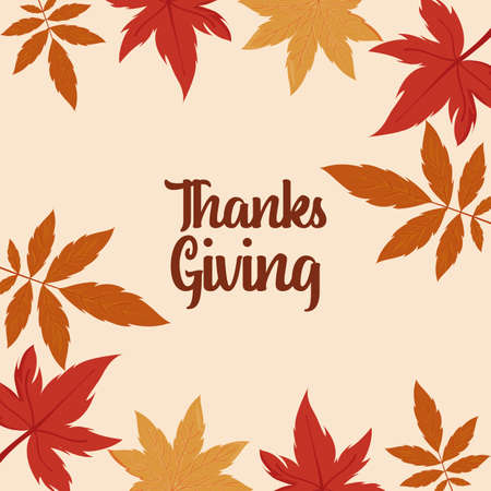 Maple leaves of thanksgiving day design, Autumn season holiday greeting and traditional theme Vector illustration 일러스트