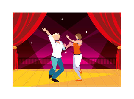 couple of people on the dance floor, party, dancing club, music and nightlife vector illustration design