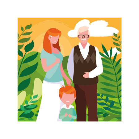 grandfather, woman and child walking in the park together vector illustration design