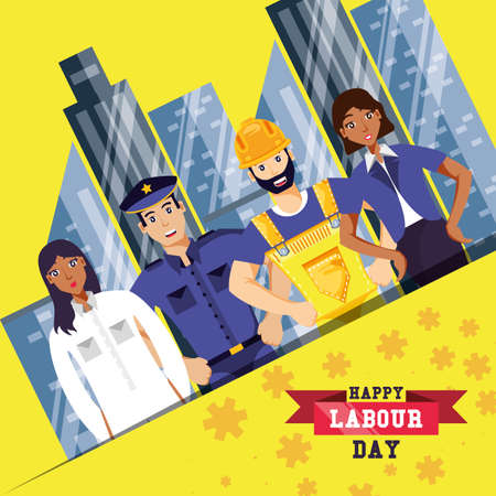 happy labour day with group of professionals vector illustration design