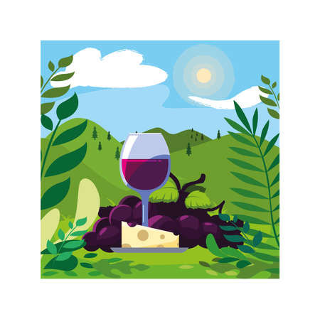 wine glass with grapes and cheese portion vector illustration design