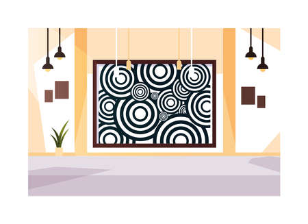 exhibition hall , art gallery on white background vector illustration design Vectores