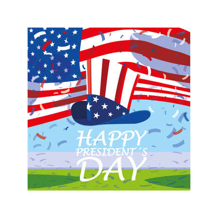 label happy president day, greeting card, United States of America celebration vector illustration design