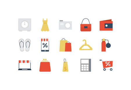 set of icon shopping, e-commerce on white background vector illustration design Ilustrace