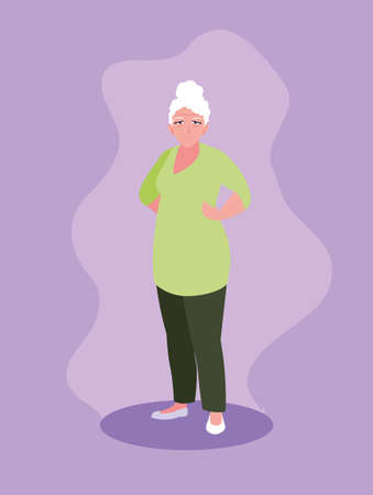 old woman with hands on waist vector illustration design