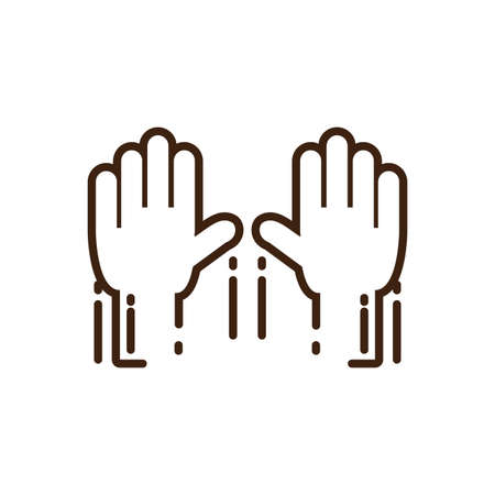 two hands raised icon over white background, line style, vector illustration design
