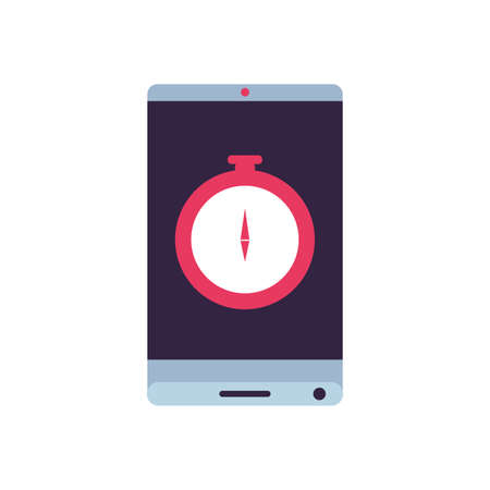 compass guide device with smartphone vector illustration design