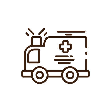 cartoon ambulance icon over white background, line style, vector illustration design