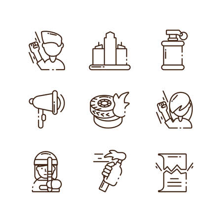 cartoon protest concept of icon set over white background, line style, vector illustration