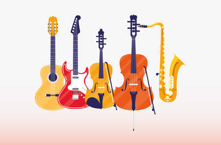 Guitar fiddle cello and saxophone instrument design, Music sound melody song musical art and composition theme Vector illustration Ilustrace