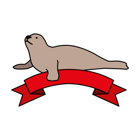 a seal on a white background vector illustration design