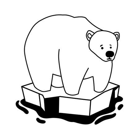 polar bear on an ice floe drifting on white background vector illustration design