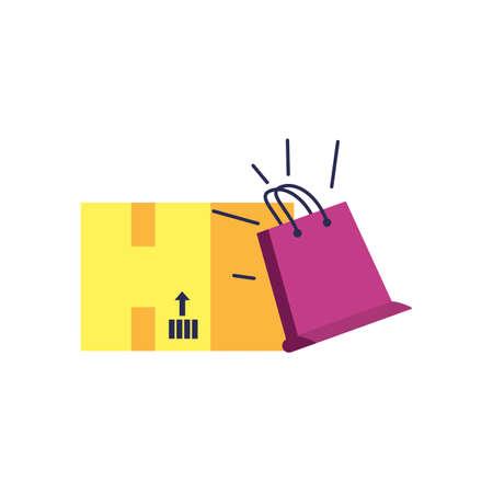 box carton with shopping bag vector illustration design