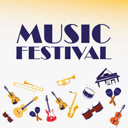 Instruments design, Music festival sound melody song musical art and composition theme Vector illustration