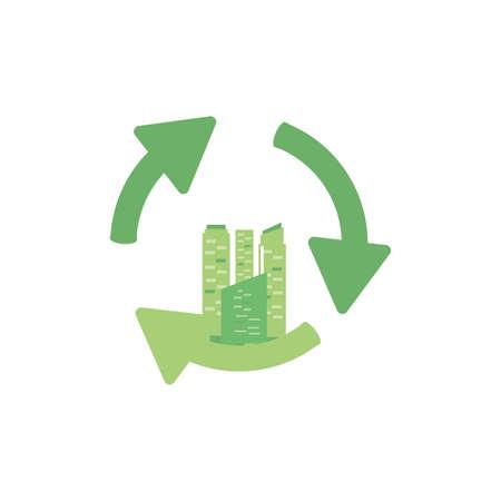 facade building friendly with arrows recycling vector illustration design