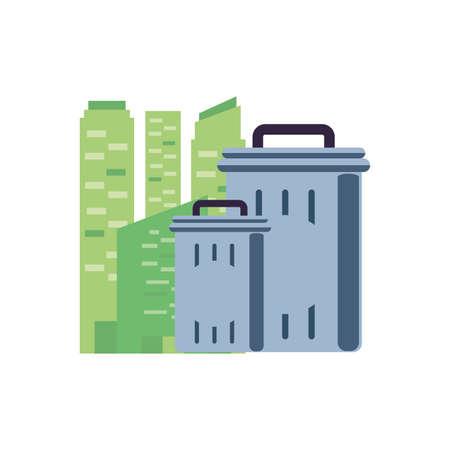 facade building urban with recycle bin vector illustration design