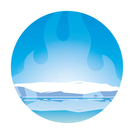 arctic landscape with blue sky and iceberg, north pole vector illustration design