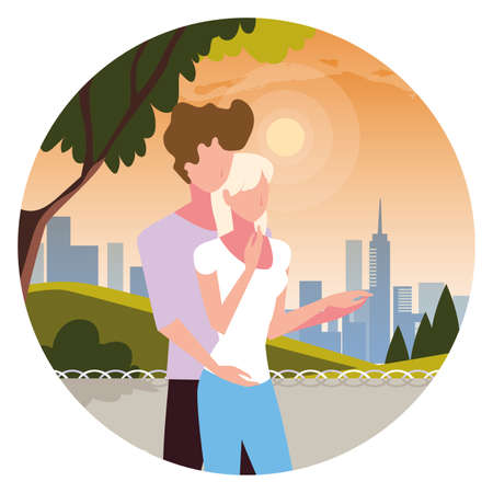 couple of people in love walking in park vector illustration design
