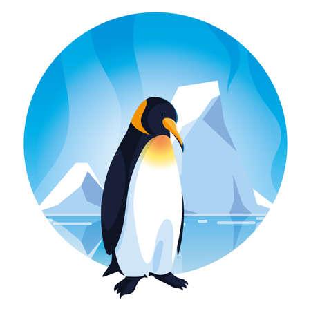 penguin at the north pole, arctic landscape vector illustration design Stock Illustratie
