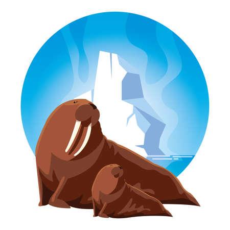 walrus at the north pole with cub, arctic landscape vector illustration design Stock Illustratie